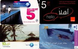LOTE DE 4 TARJETAS TELEFONICAS DE TUNEZ (PREPAGO) (089) - Tunisia