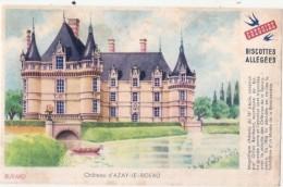 ---- BUVARD --- Petit Buvard BISCOTTES GREGOIRE  Allégées -  Château D'Azay Le Rideau Petites Salissures - Biscottes
