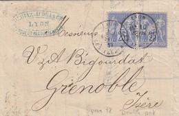 FRANCE - LETTRE DERIAZ-AUDRAS & Cie LYON 10 FEV. 77 POUR GRENOBLE ISERE   / 3 - Storia Postale