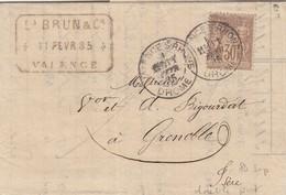 FRANCE - LETTRE Ets BRUN & Cie VALENCE 11 FEV 85 POUR GRENOBLE ISERE   / 3 - Storia Postale