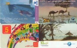 LOTE DE 4 TARJETAS TELEFONICAS DE TUNEZ (PREPAGO) (091) - Tunisia
