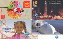 LOTE DE 4 TARJETAS TELEFONICAS DE TUNEZ (PREPAGO) (092) - Tunisia