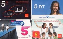 LOTE DE 4 TARJETAS TELEFONICAS DE TUNEZ (PREPAGO) (093) - Tunisia