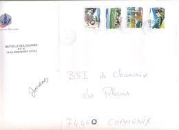 FRANCIA - France - 2009 - 4 X Lettre Prioritaire 20g Fleurs - Mutuelle Des Douanes - Grande Enveloppe - Viaggiata Da Ann - Francia
