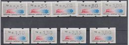ISRAEL 1990 KLUSSENDORF ATM 0.05 0.55 0.70 0.80 1 1.10 1.30 2.35 3 SHEKELS - Franking Labels