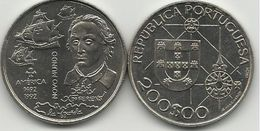 PORTUGAL- 200 ESCUDOS-KM#660-1992-NEW WORLD-AMERICA-COLUMBUS AND SHIPS-UNC-COPPER-NICKEL - Portugal