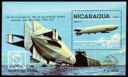Nicaragua, 1984, UPU World Postal Congress Hamburg, United Nations, Zeppelin, MNH, Michel Block 158 - Nicaragua