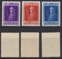 R300.-. LIECHTENSTEIN - 1933 - SC#:111-113. MLH -80TH BIRTHDAY OF PRINCE FRANCIS I. - Ungebraucht