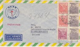 BRAZIL 1950 REG.AIRMAIL COVER BAHIA (Tuberculosis Research) TO SWITZERLAND - Brésil