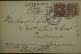 O) 1905 JAPAN, CRANE SCOTT A26, THE TOKIO TSUKIJI THE FOUNDRY-TACOMA- CHIMOND, COVER TO VIRGINIA. XF - Japan