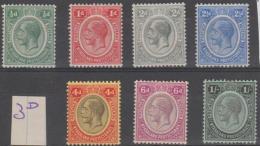 NYASALAND PROTECTORATE - 1913-19 King George V To 1/-. Scott 12-19. Mint Light Hinge - Nyassaland (1907-1953)