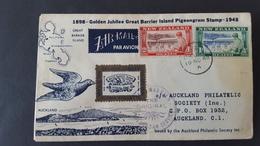 New Zealand 1948  Golden Jubilee Great Barrier Island Pigeongram Stamp Souvenir Cover - FDC