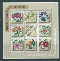 Burundi 1966 Republic Overprints On Flower Airs Sheet Of 8 , Map Centre Type MNH - Burundi