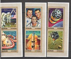 V927 !!! IMPERFORATE AJMAN SPACE APOLLO 11-13 GOLD 1SET MNH - Raumfahrt