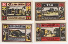 Deutsche Kolonien Notgeld 4 Scheine Togo, Kamerun, Deutsch-Ostafrika, Deutsch-Südwestafrika - Collections