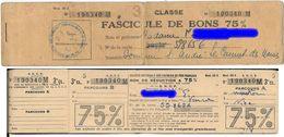 CHEMIN DE FER - CARNET  DE BONS DE REDUCTION 75 % -Région De La Méditerranée -LE CANNET DES MAURES -S.N.C.F. 3e Classe - Titres De Transport