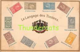 CPA EN RELIEF GAUFREE LE  LANGAGE DES TIMBRES POSTZEGEL TAAL SPRAAK BELGIE BELGIQUE GUGGENHEIM - Timbres (représentations)