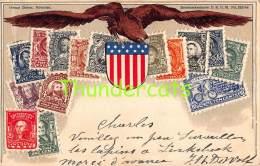 CPA EN RELIEF GAUFREE LE  LANGAGE DES TIMBRES OTTMAR ZIEHER UNITED STATES USA US AMERIQUE - Timbres (représentations)