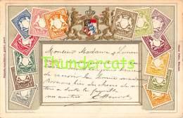 CPA EN RELIEF GAUFREE LE  LANGAGE DES TIMBRES OTTMAR ZIEHER BAYERN DEUTSCHLAND ALLEMAGNE - Timbres (représentations)