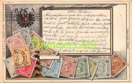 CPA EN RELIEF GAUFREE LE  LANGAGE DES TIMBRES OTTMAR ZIEHER HELLER AUSTRIA AUTRICHE - Timbres (représentations)
