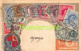 CPA EN RELIEF GAUFREE LE  LANGAGE DES TIMBRES OTTMAR ZIEHER ROYAUME UNI UNITED KINGDOM ANGLETERRE - Timbres (représentations)