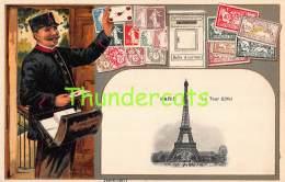 CPA EN RELIEF GAUFREE LE  LANGAGE DES TIMBRES GUGGENHEIM FRANCE PARIS LA TOUR EIFFEL - Timbres (représentations)