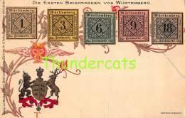 CPA  LE  LANGAGE DES TIMBRES STAMPS MENKE HUBER DIE ERSTEN BRIEFMARKEN VON WURTEMBERG ( CREASES - PLIS !! ) - Timbres (représentations)