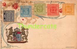 CPA  LE  LANGAGE DES TIMBRES STAMPS MENKE HUBER DIE ERSTEN BRIEFMARKEN VON BAYERN DEUTSCHLAND ( CREASES - PLIS !! ) - Stamps (pictures)