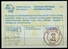 CANADA La22 Int. Reply Coupon Reponse Antwortschein IAS IRC O LONDON ON 27.6.75 Redeemed BISMARCK ND 11.07.75  ( UT 18 ) - Antwortcoupons