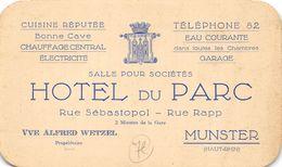 CARTE DE L HOTEL DU PARC RUE SEBASTOPOL RUE RAPP MUNSTER - France