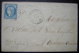 1872 Montaigut-de-Quercy (Tarn Et Garonne) GC 2423 Lettre Pour Les Hautes Pyrénées Nombreux Cachets à L'arrière - Postmark Collection (Covers)