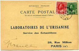 CANADA CARTE POSTALE BON POUR UN FLACON ECHANTILLON D'URISANINE DEPART GRANBY APR 1  25 POUR LA FRANCE - 1911-1935 Reign Of George V