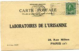 CANADA CARTE POSTALE BON POUR UN FLACON ECHANTILLON D'URISANINE DEPART ST HYACINTHE OCT 23  1925 POUR LA FRANCE - 1911-1935 Reign Of George V