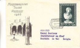 Pologne - Lettre De 1956 - Oblit Warsawa - Exp Vers Hautain Le Val - Statues - 1944-.... République
