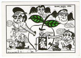 CPM    ILLUSTRATEUR   J. LARDIE     BONNE ANNEE 1984      MARCHAIS ROCARD MAUROIS CHIRAC MITTERRAND - Satira