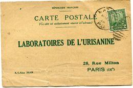CANADA CARTE POSTALE BON POUR UN FLACON ECHANTILLON D'URISANINE DEPART MATANE NO 20 28 POUR LA FRANCE - 1911-1935 Reign Of George V