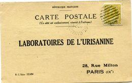 CANADA CARTE POSTALE BON POUR UN FLACON ECHANTILLON D'URISANINE DEPART ST RAYMOND NO 26  2?  POUR LA FRANCE - 1911-1935 Reign Of George V