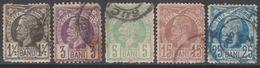 ROUMANIE 1885-88 5 TP Roi Charles 1er N° 57 à 61 Y&T Oblitéré (n° 57 Papier Aminci) - Gebraucht