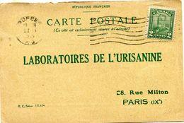 CANADA CARTE POSTALE BON POUR UN FLACON ECHANTILLON D'URISANINE DEPART QUEBEC OCT 31  1928 POUR LA FRANCE - 1911-1935 Reign Of George V