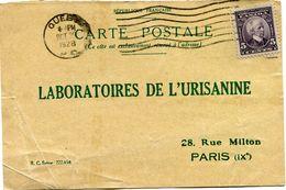 CANADA CARTE POSTALE BON POUR UN FLACON ECHANTILLON D'URISANINE DEPART QUEBEC OCT 29  1928 POUR LA FRANCE - 1911-1935 Reign Of George V