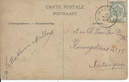 Fantasiekaart Met OCB 53 - Afstempeling MEERLE - COBA 8 - 1893-1907 Wapenschild