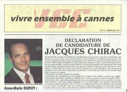 """Elections Avril 1988, Matériel éléctoral 3/5 Jacques Chirac, Appel à Voter Chirac In """"VIVRE ENSEMBLE A CANNES"""" - Vieux Papiers"""