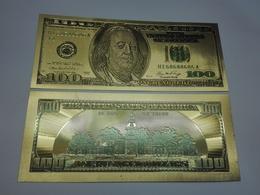 USA 100 Dollars Old Type Polymer Fantasy Gold Banknote - Bilglietti Della Riserva Federale (1928-...)