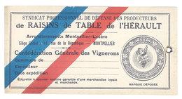 Cartonné Syndicat Professionnel De Défense Des Producteurs De Raisins De Table De L'Hérault, Montpellier, Vignerons - Publicités