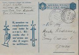 WWII Franchigia 1943 Posta Militare - Italia - Catanzaro - 323° Compagnia Speciale Lavoratori - Guerre 1939-45