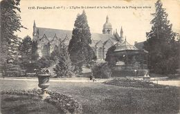 CPA 35 FOUGERES L EGLISE ST LEONARD ET LE JARDIN PUBLIC DE LA PLACE AUX ARBRES - Fougeres