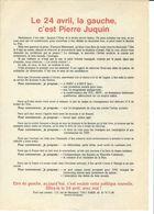 Elections Avril 1988, Matériel éléctoral 5/5. PIERRE JUQUIN. Profession De Foi, Tract Remue- Meninge - Vieux Papiers