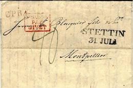 1829 - Letter From  STETTIN - C P R 4  Rouge + French Entr.  Red  PRUSSE /PAR/GIVET Framed - ...-1860 Prephilately