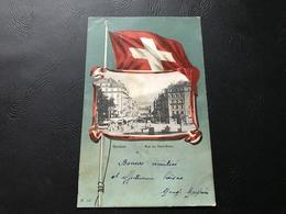 555 - GENEVE Rue Du Mont Blanc (Drapeau Suisse) - 1904 Timbrée - GE Genève