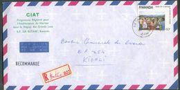 60f. Obl. C BUTARE Sur Lettre Recommandée Du 7/7/1989 Vers Kigali -  12496 - Rwanda